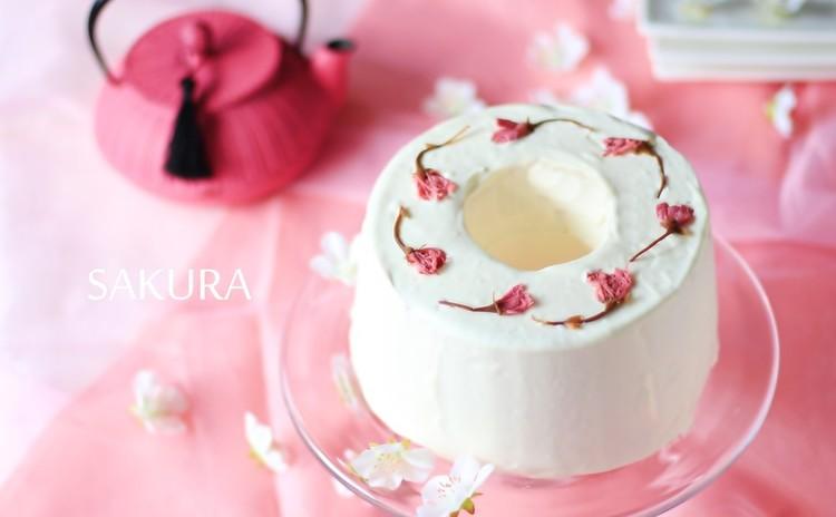 しっとりふんわり♡桜香る♪ピンクのさくらシフォンケーキとメレンゲ