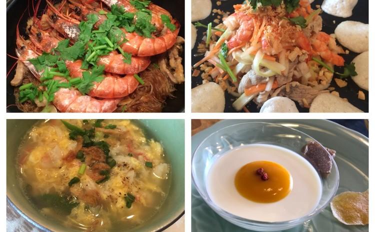 海老と春雨の土鍋蒸し・イカとセロリのエスニックサラダ・蟹の卵スープ