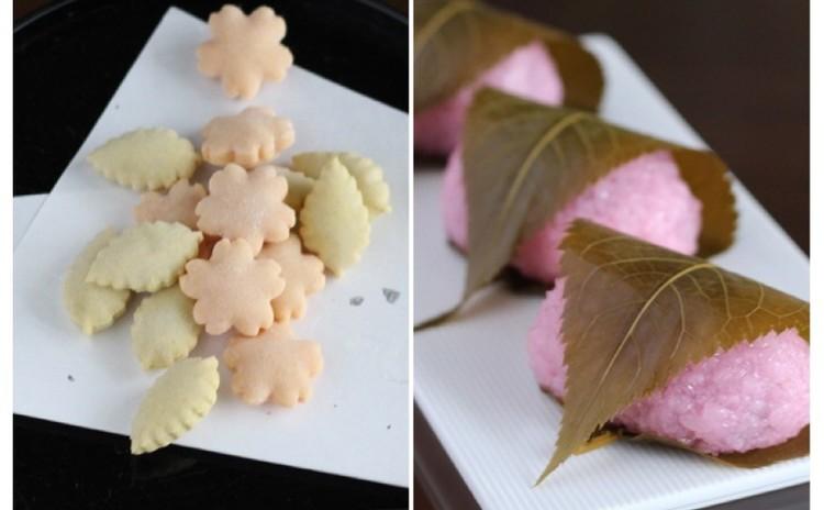 4月/「桜餅」(道明寺)と「黄味雲平」(干菓子)