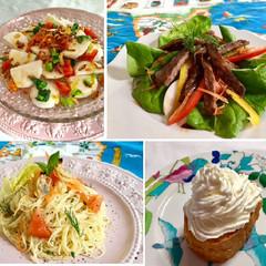 カブのカルパッチョ&牛肉のタリアータ&アサリのパスタ&サバラン