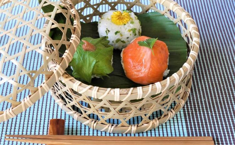 お花見かご盛りてまり寿司と春の食材おかず
