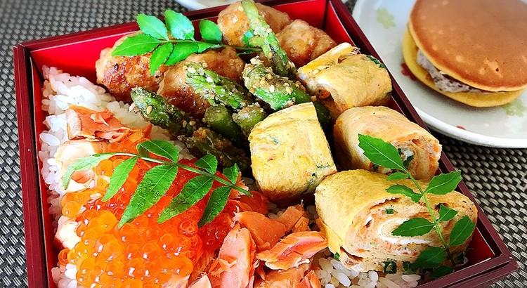 鮭とイクラの親子丼としらすのフワフワ卵焼き♪クリームどら焼き他2品