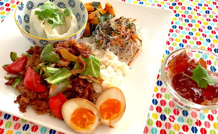 みんな大好き♡ごはんにぴったり回鍋肉とヘルシー水餃子の中華プレート6品