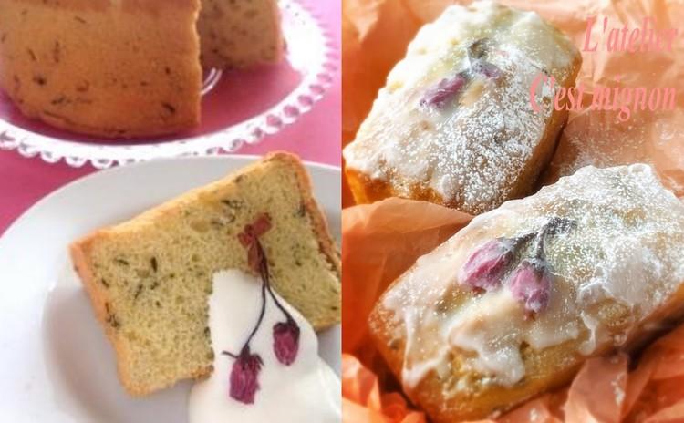 桜を楽しむ3種の焼き菓子♪ 米粉シフォン、白あんパウンド、チュイール