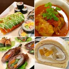 巻き寿司3種・八幡巻・ロールキャベツ・ロールケーキ