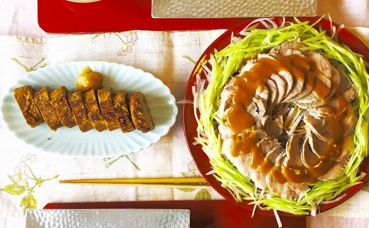 管理栄養士さんお墨付き和食⭐️ふきのとう佃煮入玉子焼き・しっとり茹で豚