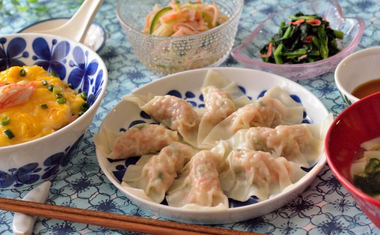 海老入り水餃子&ふわとろ卵の天津飯も♡おうち中華の献立です♪