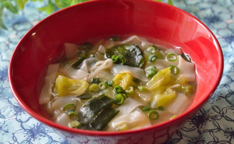 ワンタン麺風☆ピリ辛中華スープ