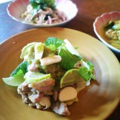 茹で豚肉のライムソース&揚げ魚のナンプラーソース