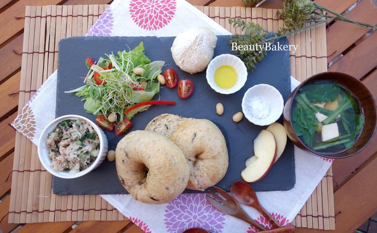 天然酵母でつくる美肌パンレッスン 【味噌&ひじきベーグル&押し麦パン】