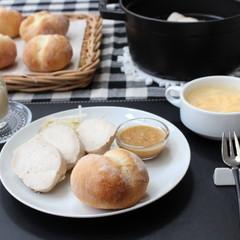 ふたごパンと塩蒸し鶏