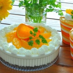 オレンジを使った2種のチーズケーキ~レアとスフレのチーズケーキ♪
