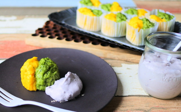 お野菜のスチームチーズケーキ 小豆の豆乳クリームを添えて