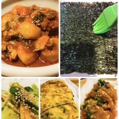 鶏タン(韓国料理)焼き海苔、卵焼き、豆腐ゾリム、サンチュサラダ