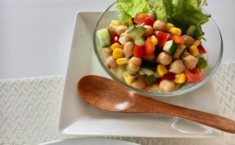 ひよこ豆のスパイスドレッシングサラダ