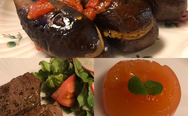 ナスのリピエノ☆牛肉のマルサラ風味☆グレープフルーツのジェラティーナ