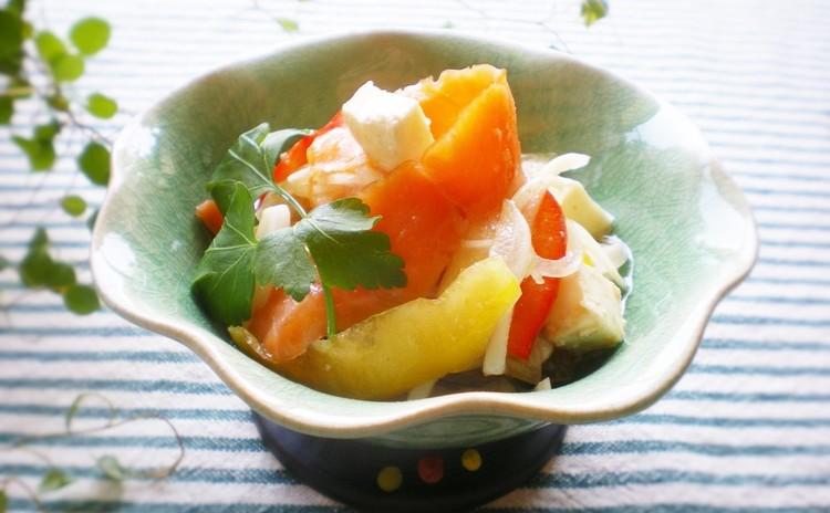 柚子胡椒香る*サーモンとチーズの和風マリネ