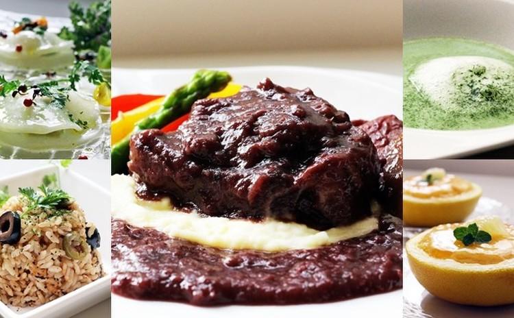 牛テールの赤ワイン煮込み・春のお茶とオリーブライス~ファーストフラッシュの香り・春のお豆たちのスープ、カプチーノ仕立て新緑の香・野菜のラビオリサラダ、ミントドレッシング・グレープフルーツのしっとりケーキ✿お土産付