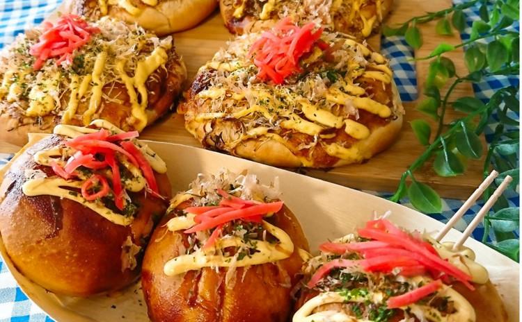 ひとつの生地から作るお好み焼き&たこ焼きパン