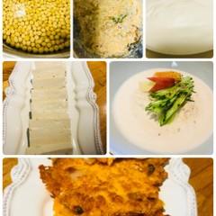 豆腐と大豆そう麺(コングッス)韓国料理、おからチジミ