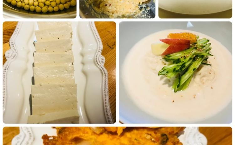 豆腐두부と大豆そう麺(コングッス)콩국수韓国料理、おからチジミ비지전(お土産あり)にがり使用不可