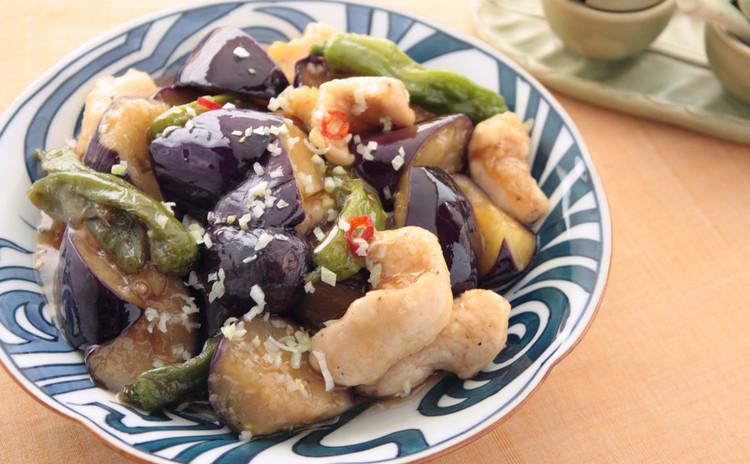 茄子と鶏胸肉の甘酢炒め
