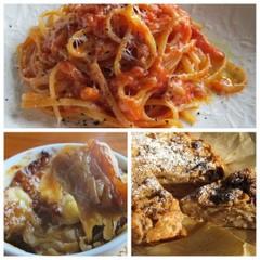 アマトリチャーナ、オニオングラタンスープ、リンゴとパンのケーキ