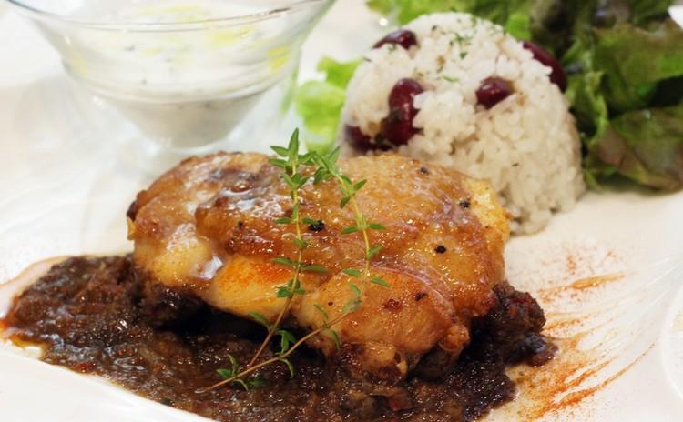 国産鶏のスパイシージャークチキン・ベリーと赤ワインのソルベ🌸お土産付
