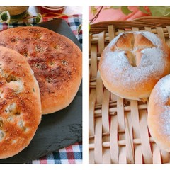 簡単成形‼️2種類のフォカッチャ『チーズ&オリーブ』&くるみパン