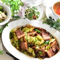 簡単だから何度でも 回鍋肉、中華風スープ、ささみとキュウリのマリネ等