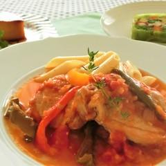 夏野菜をおいしく!鶏肉のバスク風、野菜のテリーヌ、かぼちゃのプリン