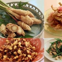 爽やかな谷中生姜とミョウガの肉巻き、キスのマリネ、モロコシキーマカレー