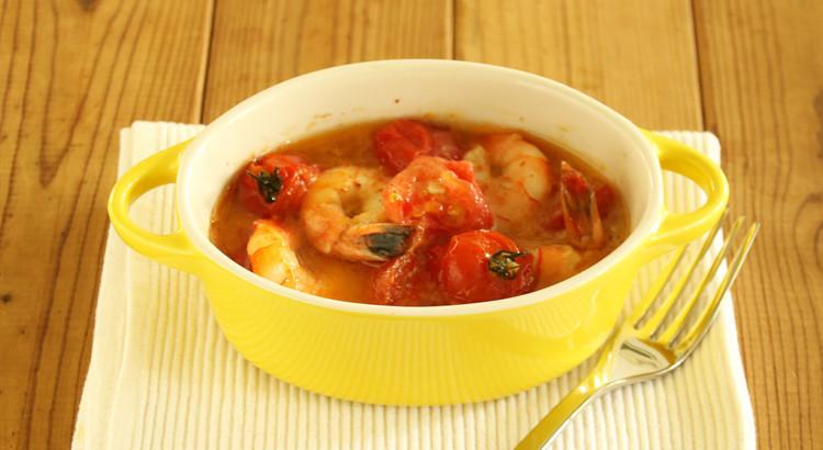 海老とトマトのアヒージョ