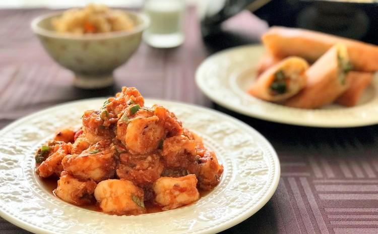 中華ローカル料理♪【川汁蝦仁&春巻き】