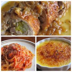 チキンロールのマスタード風味、アマトリチャーナ、クレマカタラーナ