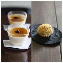 7月/「ほうじ茶プリン」と「黒糖わらび餅」(餡入り)