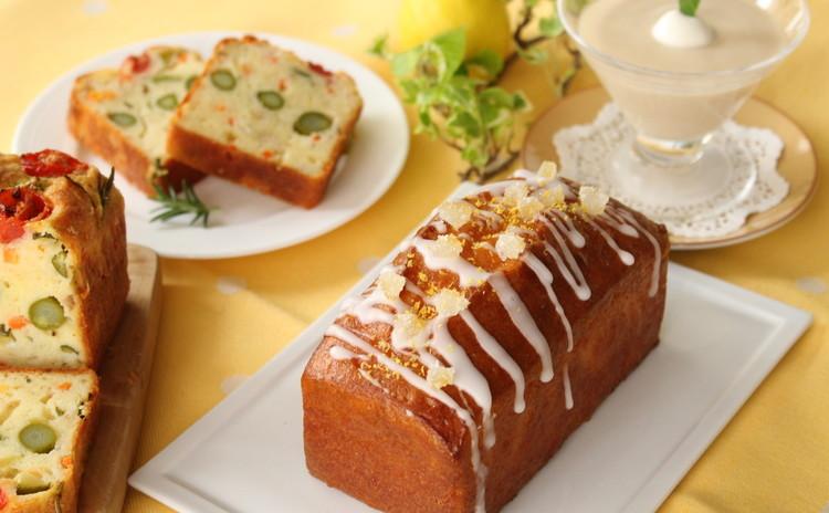 レモン香るケーク・シトロンと旬の野菜のケーク・サレ紅茶のババロア