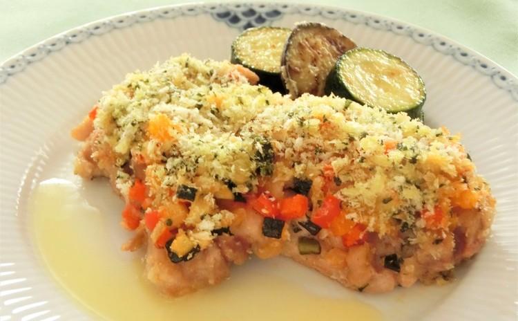 鶏肉と夏野菜のパン粉焼き