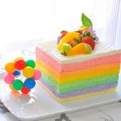 味も虹色♪パステルレインボーケーキ