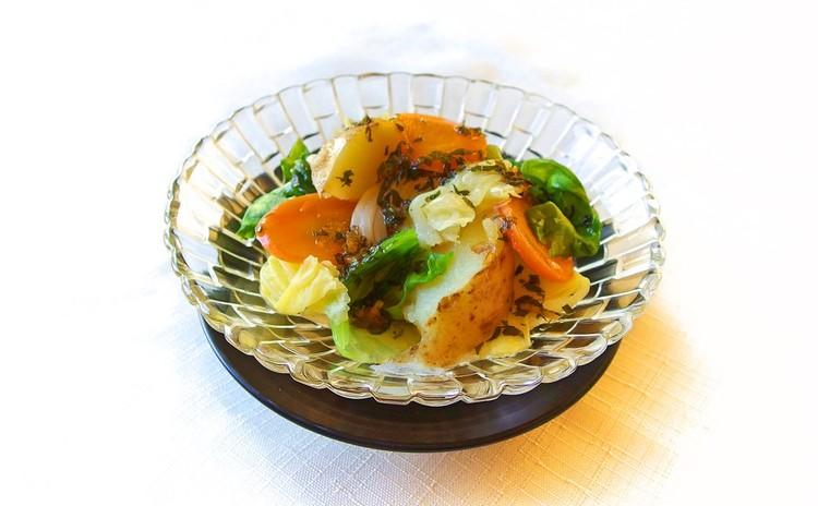 温野菜のサラダ ジンジャードレッシングで