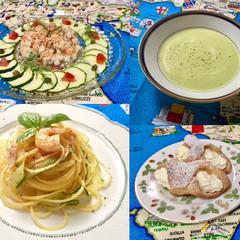 サーモンのタルタル&アボカドの冷製スープ&海老とズッキーニのパスタ