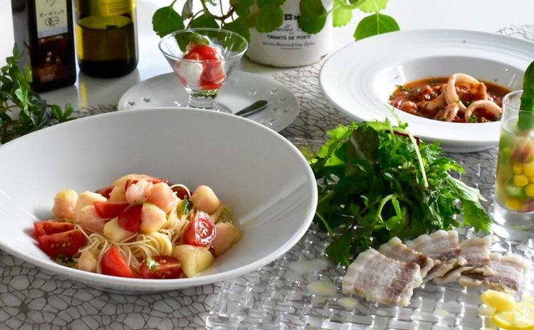 簡単だから何度でも 桃の冷製パスタ、イカのトマト煮、蒸し豚、ゼリー寄せ