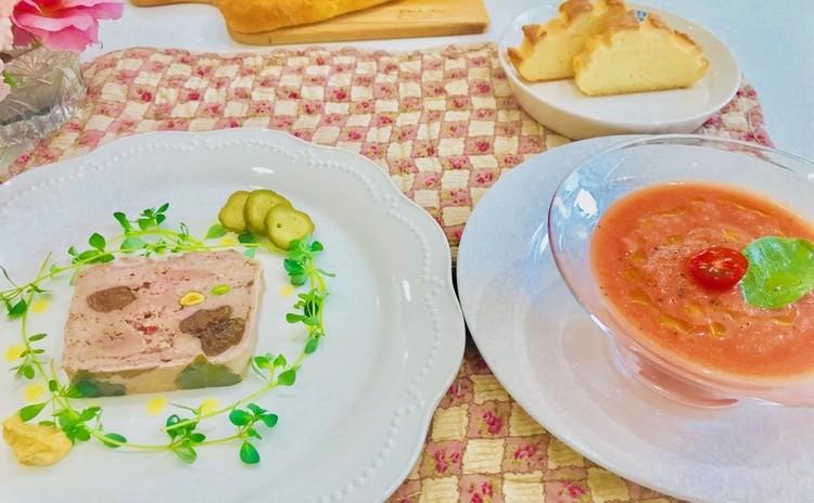 パテドカンパーニュ、トマトのシャーベットスープ等