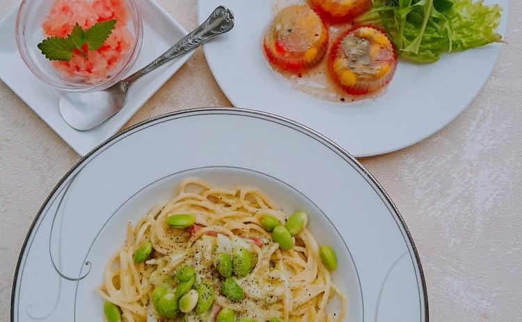 夏野菜でキラキラゼリー寄せ、枝豆クリームでパスタ!温冷製どっちもOK