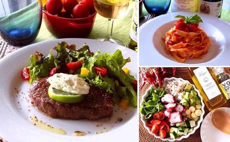 夏はお肉!牛肉のグリル サワークリーム添え パワーサラダと自家製パスタ