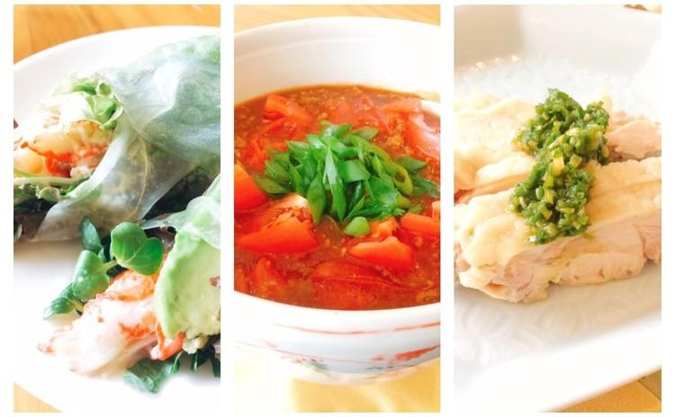サッパリ夏中華♬麻婆トマト・ゆで鶏ネギ塩ソース・アボカド生春巻き