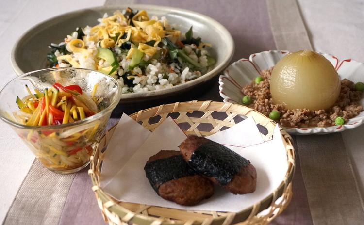イワシの手開き実習!つみれいそべ巻き&丸ごと玉ねぎ煮浸し&わかめ寿司