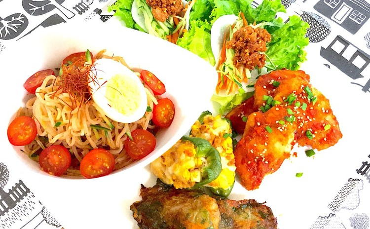 麺祭り第2弾☆身体嬉しい野菜たっぷりビビン麺の韓国料理プレート全6品