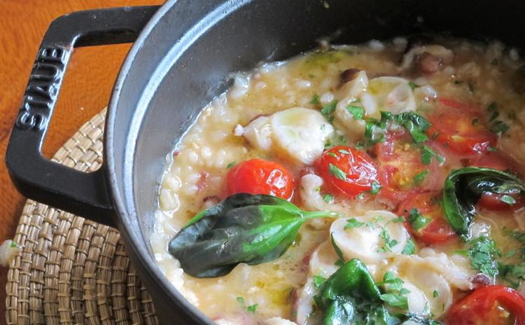 イタリア風タコ飯、豚ヒレ肉のベーコン巻きステーキ、アスパラポルペッタ