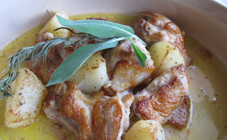 焼きナスの冷製パスタとチキンとポテトのオーブン焼き